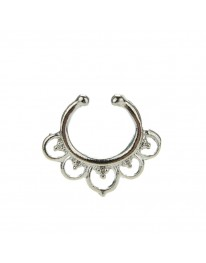 Flower Septum Ring// Silver
