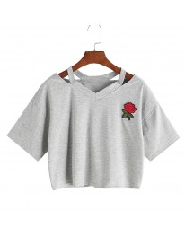 Rose Embroidered Top // Grey
