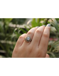 Comet Sterling Silver Ring// Rainbow Moon Stone