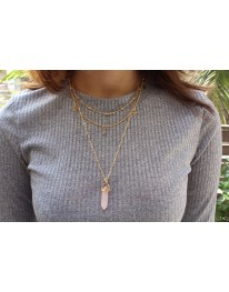 Celestial Rose Quartz Necklace// Gold