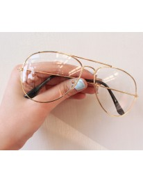 Clear Aviator Glasses // Gold