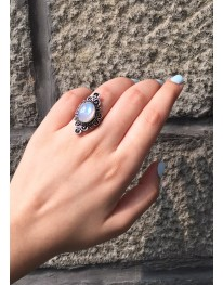 Aura German Silver Ring// Rainbow Moon Stone