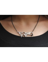 Wanderlust// World Map Necklace Silver