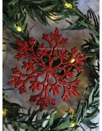 Glittery Snowflakes Set // Red